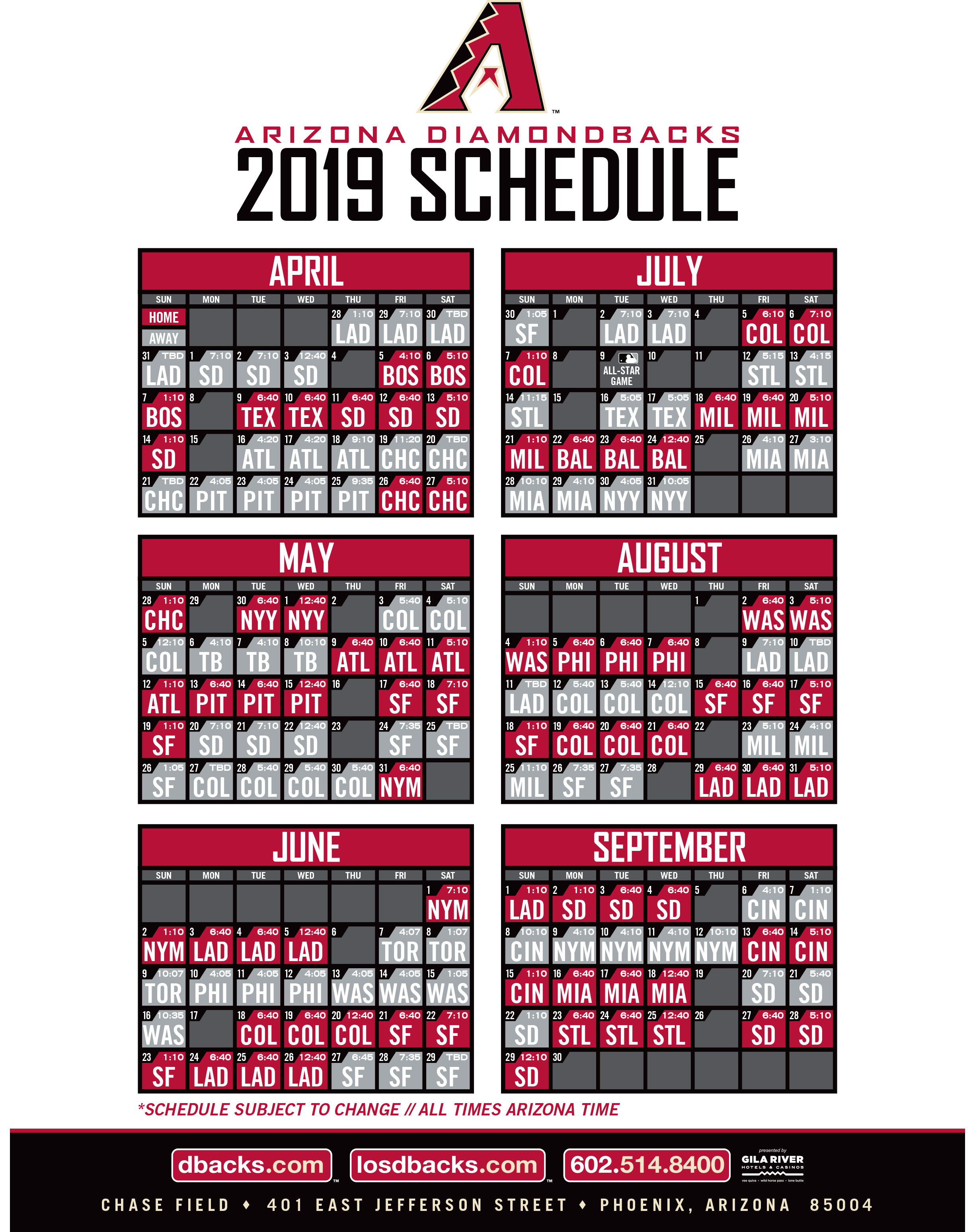 picture relating to Diamondbacks Schedule Printable identify Diamondbacks KQNA